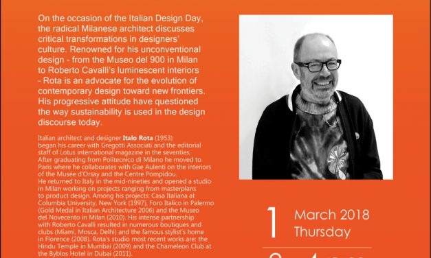 Talk by Italian Designer ITALO ROTA – 1st March